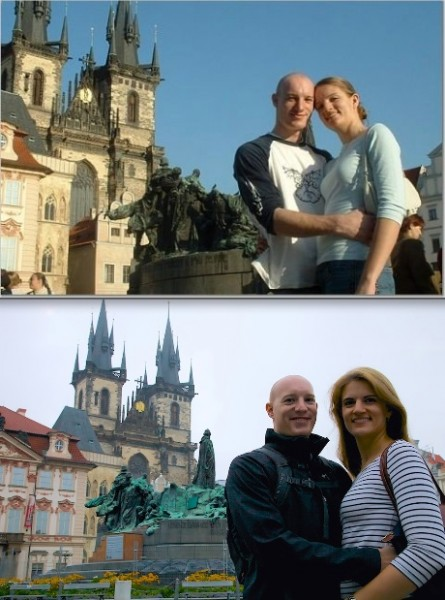April – Stare Mesto.  I traveled to Prague on my spring break to visit my new boyfriend while he was studying abroad.  9 years later we returned to Prague together to celebrate our 7 year wedding anniversary.  The photo shows us in Stare Mesto, then and now.