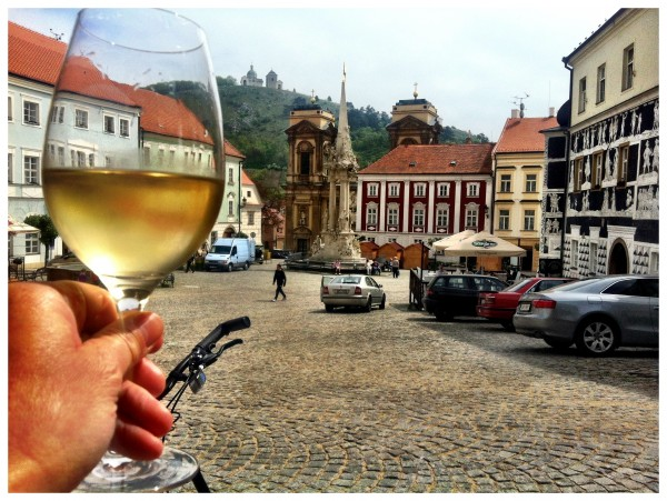 Steve Jack – Enjoying a lovely glass of wine on the main square in beautiful Mikulov, during a wonderful week's cycling along the wine trails of Moravia.