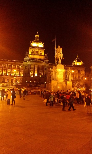 ghazi –  Wenceslas Square-Prague December 26 2012 at night with full of tourists 