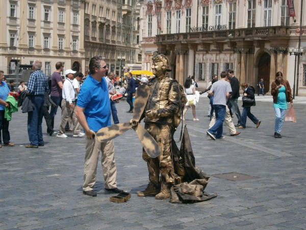 Aleksandr Abramov – Even the downed pilot smiling guests of Prague on the Old Town Square.