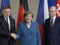 Robert Fico, Angela Merkel, Bohuslav Sobotka, photo: ČTK