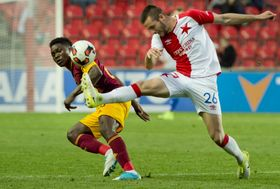 Slavia Prague - Dukla Prague: Emmanuel Edmond, Michael Lüfter, photo: CTK