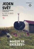 Vizuál festivalu Jeden svět 2013 (Zdroj: Jeden svět, www.jedensvet.cz)