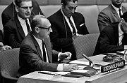 Ministr zahraničních věcí Jiří Hájek při projevu vRadě bezpečnosti OSN, foto: UN Photo (www.rozhlas.cz/1968)