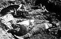 Těla exhumovaná z hromadného hrobu v Postoloprtech, foto: www.nacionaliste.com