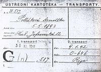 Fiche de transport de la tante, Erna Pollaková, obtenue auprès des Archives de la Mairie Juive à Prague