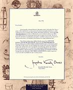 The letter from Jacqueline Kennedy Onassis