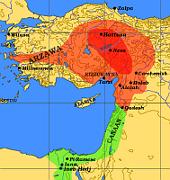 Hethiterreich um 1600 vor Christus (dunkelrot). Quelle: Dbachmann, CC BY-SA 3.0