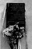 Odhalování pamětní desky Romům, kteří byli deportováni do Osvětimi v období II. světové války. Masná ulice Brno (Foto: © Muzeum romské kultury)