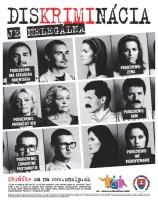 Plakát Diskriminácia je nelegálna, kterou vydalo Slovenské národní středisko pro lidská práva (Zdroj: www.snslp.sk)