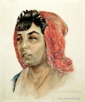 Portrét tzv. cikánského míšence z Německa. Akvarel Diny Gottliebové (Foto: Státní muzeum Osvětim)