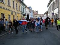 Organizátor Jindřich Svoboda (uprostřed s megafonem) dával pokyny, aby dav nesešel z trasy (Foto: Gabriela Hauptvogelová)