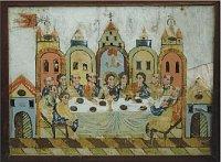 Vyobrazení Poslední večeře Páně z2. pol. 19. st, sbírka Muzea agalere severního Plzeňska