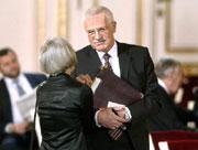 Jaroslava Moserová aVáclav Klaus, Foto: ČTK