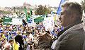 Šéf ČMKOS Milan Štěch hovoří na pražském Palachově náměstí k demonstrujícím odborářům, foto: ČTK