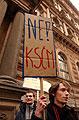 Demonstrace Mladých konzervativců a Junior klubu křesťanských demokratů proti narůstající moci KSČM, foto: ČTK