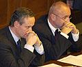 Ministr zahraničí Cyril Svoboda (vlevo) a místopředseda vlády pro vědu, výzkum a lidské zdroje Petr Mareš, foto: ČTK