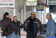 Truck drivers at the forwarding office, photo: CTK