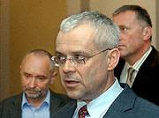 Petr Mares, Vladimir Spidla and Mirek Topolanek at meeting on pension system, photo: CTK