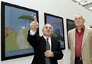 National Gallery curator Tomas Vlcek with the President Vaclav Klaus, photo: CTK
