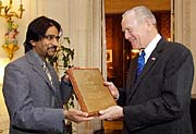 American ambassador in Prague William Cabaniss awarded Kumar Vishwanathan, photo: CTK