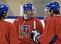 Robet Lang, Jaromir Jagr and Pavel Kubina, photo: CTK
