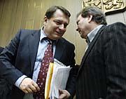 Premiér Jiří Paroubek a hudebník Antonín Gondolán, foto: ČTK