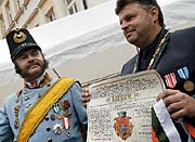 'Emperor Franz Josef' and Zizkov Mayor Milan Cesky, photo: CTK