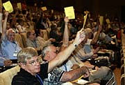 Members of the International Astronomical Union (IAU), vote on a resolution for planet definition during the IAU 26th General Assembly in Prague, photo: CTK