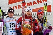 Zleva: Kristina Smigun, Kateřina Neumannová aMarit Bjoergen, foto: ČTK