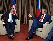 Jiri Paroubek et George W. Bush, photo: CTK