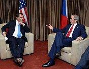 Jiri Paroubek et George W. Bush, photo: CTK