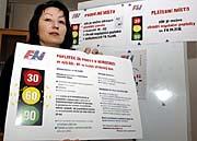 Informační tabule ozpůsobu placení regulačních poplatků vplzeňské nemocnici, foto: ČTK