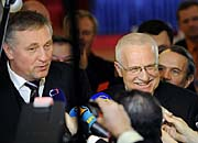 Mirek Topolánek and Václav Klaus, photo: CTK