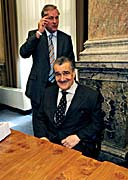 Mirek Topolánek and Karel Schwarzenberg, photo: CTK