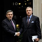 Gordon Brown and Mirek Topolnek, photo: CTK