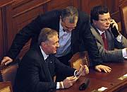 Mirek Topolánek, Karel Schwarzenberg, Alexandr Vondra, photo: CTK