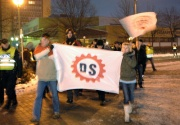 Asi osmdesát členů a příznivců Dělnické strany se sešlo 10. ledna v Kopřivnici (Foto: ČTK)