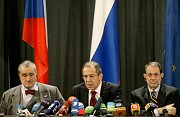 Karel Schwarzenberg, Sergej Lavrov and Javier Solana (left to right), photo: CTK