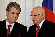 Viktor Iouchtchenko et Václav Klaus, photo: CTK