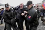 Slovenská policie rozehnala demonstraci několika stovek lidí, kteří se 14. března v Bratislavě sešli u příležitosti 70. výročí vzniku válečného slovenského státu. Policisté zadrželi Mariana Kotlebu (Foto: ČTK)