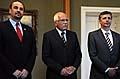 Jan Kohout, Václav Klaus, Jan Fischer, photo: CTK