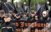 Pravicoví radikálové při pochodu Jihlavou, který vedení jihlavského magistrátu 6. června krátce po zahájení rozpustilo (Foto: ČTK)