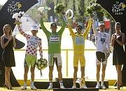 Závěrečná etapa: Franco Pellizotti, Thor Hushovd, Alberto Contador aAndy Schleck, foto: ČTK