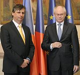 EU President Van Rompuy with Czech PM Fischer, photo: CTK