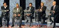 Petr Nečas (ODS), Karel Schwarzenberg (TOP 09), Radek John (VV), Vojtěch Filip (KSČM) und Bohuslav Sobotka (ČSSD). Foto: ČTK