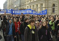 Students protest in Ostrava, photo: CTK