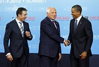 Anders Fogh Rasmussen, Václav Klaus et Barack Obama, photo: CTK