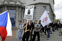 Supporters of the Workers' Party for Social Justice march in the streets of Ústí nad Labem, photo: CTK