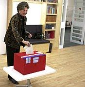 V New Yorku mezi prvními tradičně volila krasobruslařka Ája Vrzáňová, foto: ČTK
